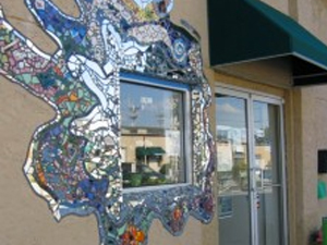 The front of the Newark Arts Alliance, with the exterior mosaic art that our community has come to associate with us.